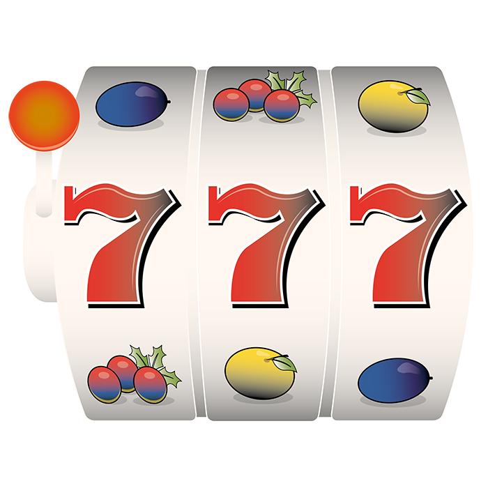 Ett slotspel med 3 sjuor i mitten
